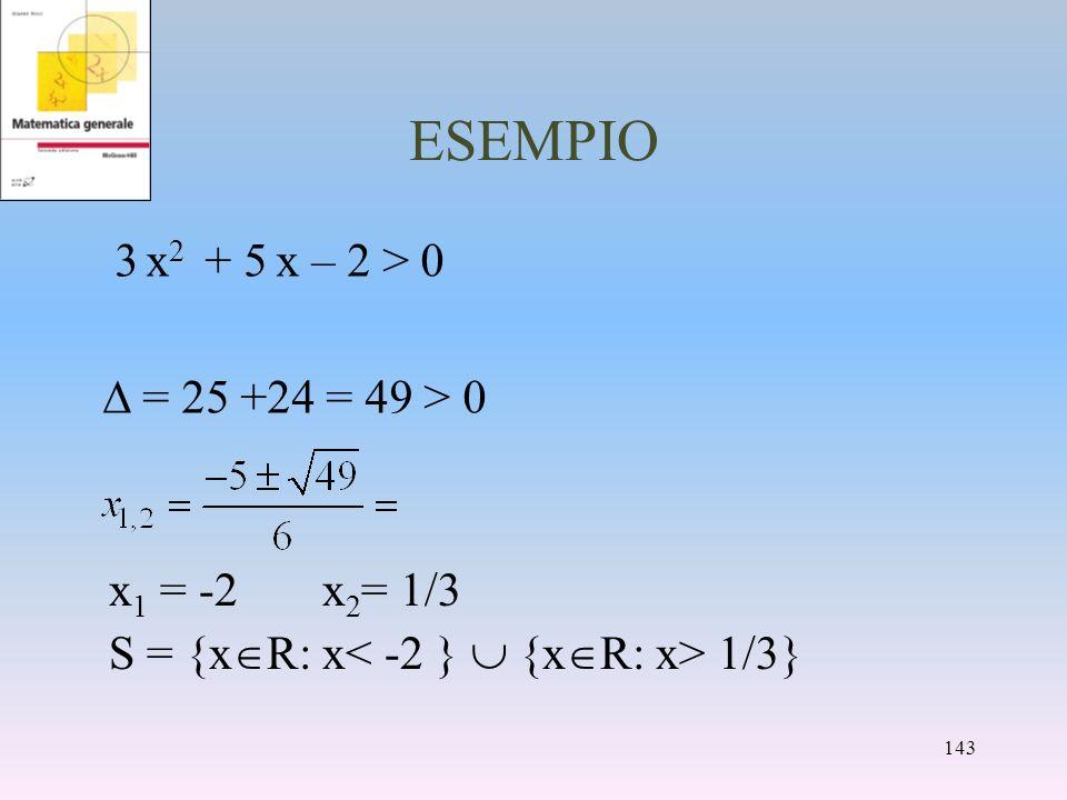 ESEMPIO 3 x 2 + 5 x – 2 > 0 = 25 +24 = 49 > 0 x 1 = -2x 2 = 1/3 S = {x R: x 1/3} 143
