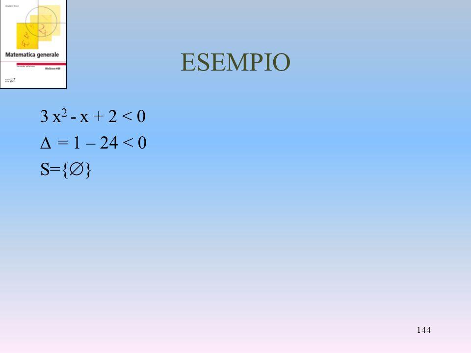 ESEMPIO 3 x 2 - x + 2 < 0 = 1 – 24 < 0 S={ } 144