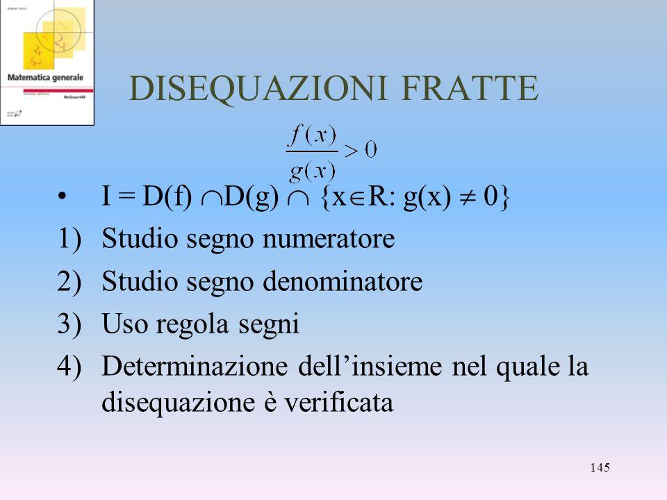 DISEQUAZIONI FRATTE I = D(f) D(g) {x R: g(x) 0} 1)Studio segno numeratore 2)Studio segno denominatore 3)Uso regola segni 4)Determinazione dellinsieme