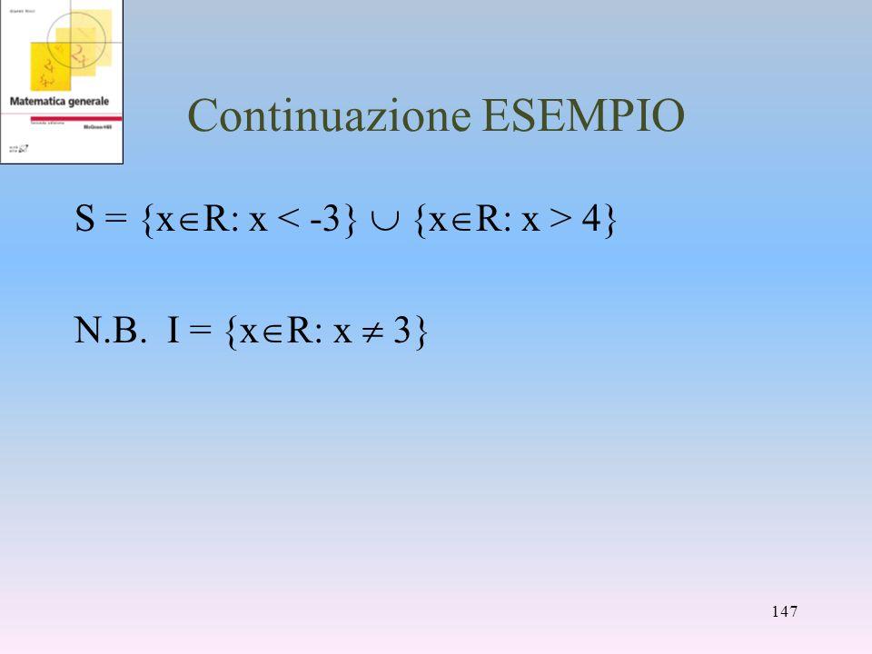 Continuazione ESEMPIO S = {x R: x 4} N.B. I = {x R: x 3} 147
