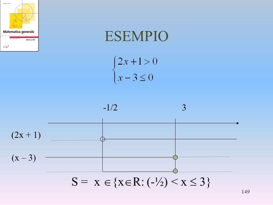 ESEMPIO S = x {x R: (-½) < x 3} -1/23 (x – 3) (2x + 1) 149