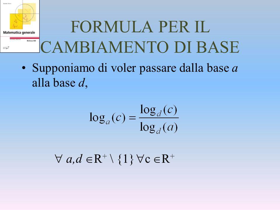 FORMULA PER IL CAMBIAMENTO DI BASE Supponiamo di voler passare dalla base a alla base d, a,d R + \ {1} c R +