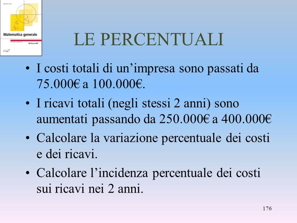 LE PERCENTUALI I costi totali di unimpresa sono passati da 75.000 a 100.000. I ricavi totali (negli stessi 2 anni) sono aumentati passando da 250.000