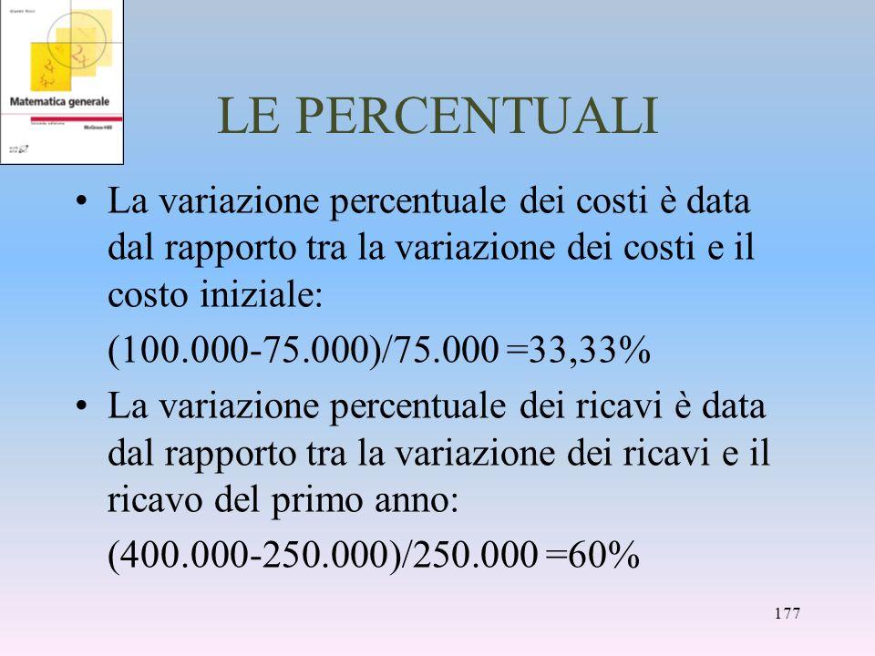 LE PERCENTUALI La variazione percentuale dei costi è data dal rapporto tra la variazione dei costi e il costo iniziale: (100.000-75.000)/75.000 =33,33