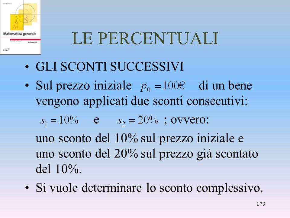 LE PERCENTUALI GLI SCONTI SUCCESSIVI Sul prezzo iniziale di un bene vengono applicati due sconti consecutivi: e ; ovvero: uno sconto del 10% sul prezz