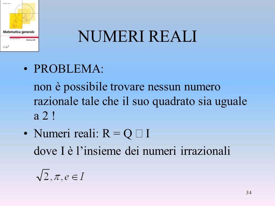 NUMERI REALI PROBLEMA: non è possibile trovare nessun numero razionale tale che il suo quadrato sia uguale a 2 ! Numeri reali: R = Q dove è linsieme d