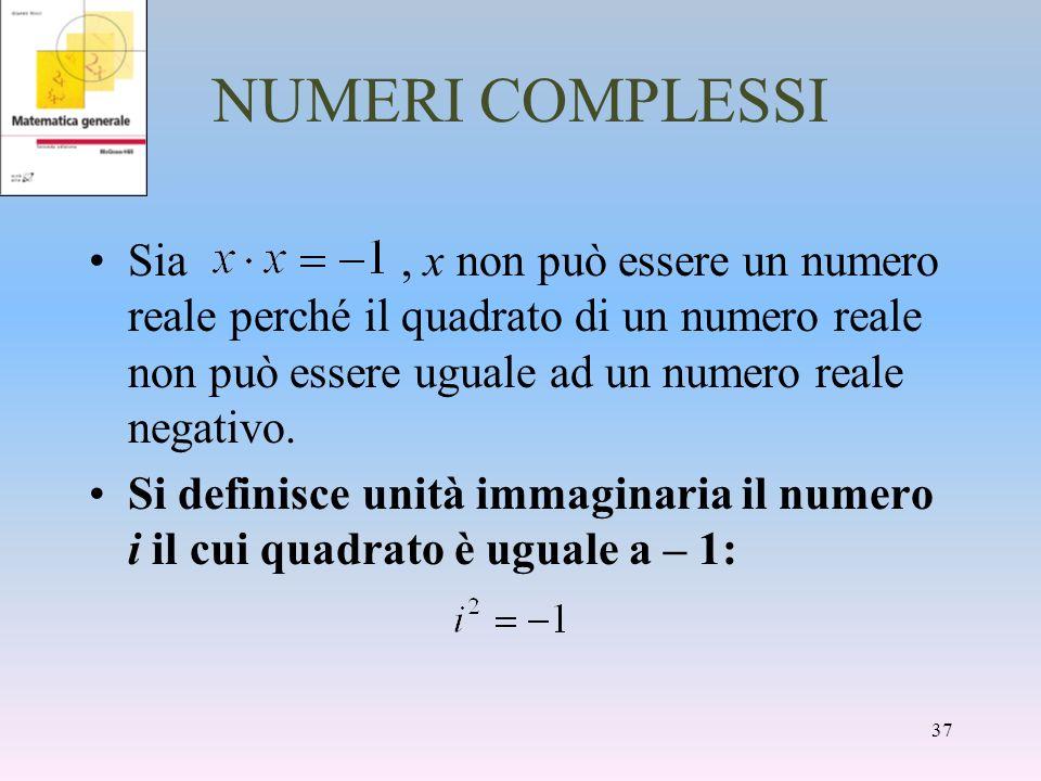 NUMERI COMPLESSI Sia, x non può essere un numero reale perché il quadrato di un numero reale non può essere uguale ad un numero reale negativo. Si def