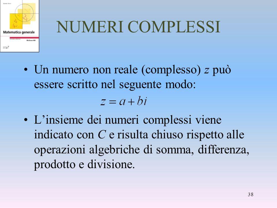 NUMERI COMPLESSI Un numero non reale (complesso) z può essere scritto nel seguente modo: Linsieme dei numeri complessi viene indicato con C e risulta