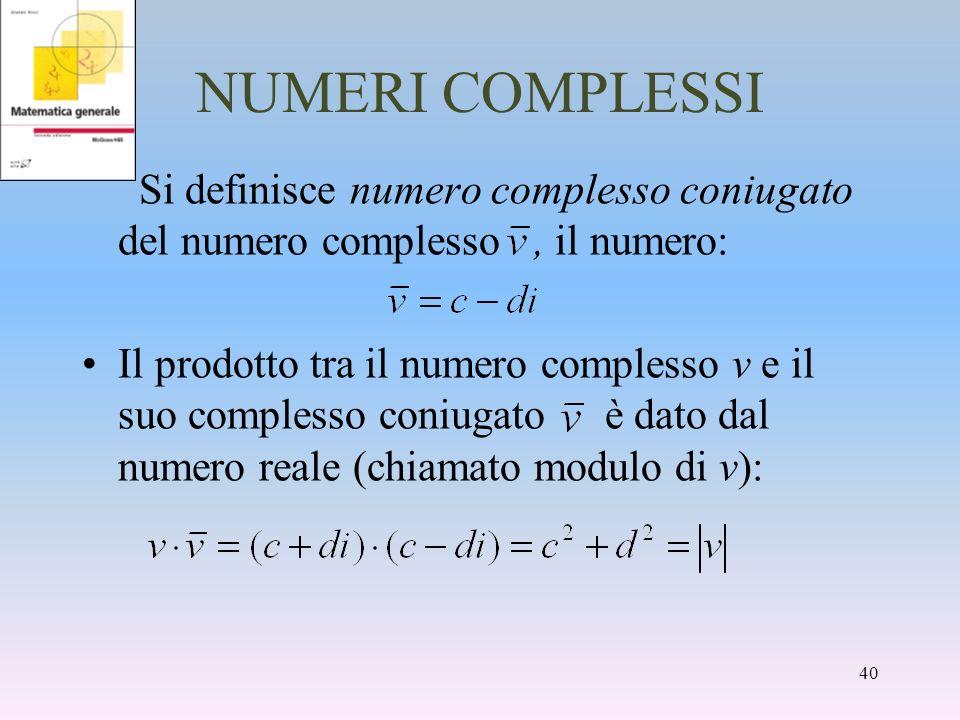 NUMERI COMPLESSI Si definisce numero complesso coniugato del numero complesso, il numero: Il prodotto tra il numero complesso v e il suo complesso con