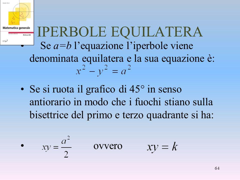 IPERBOLE EQUILATERA Se a=b lequazione liperbole viene denominata equilatera e la sua equazione è: Se si ruota il grafico di 45° in senso antiorario in