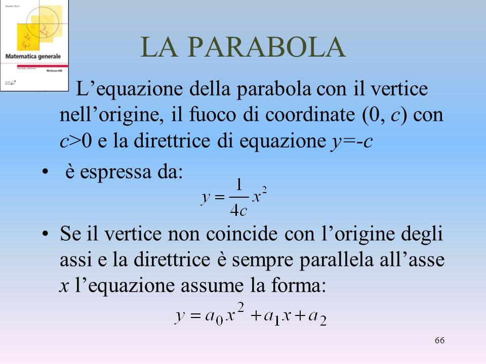 LA PARABOLA Lequazione della parabola con il vertice nellorigine, il fuoco di coordinate (0, c) con c>0 e la direttrice di equazione y=-c è espressa d