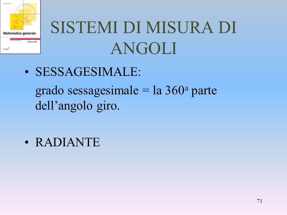 SISTEMI DI MISURA DI ANGOLI SESSAGESIMALE: grado sessagesimale = la 360 a parte dellangolo giro. RADIANTE 71
