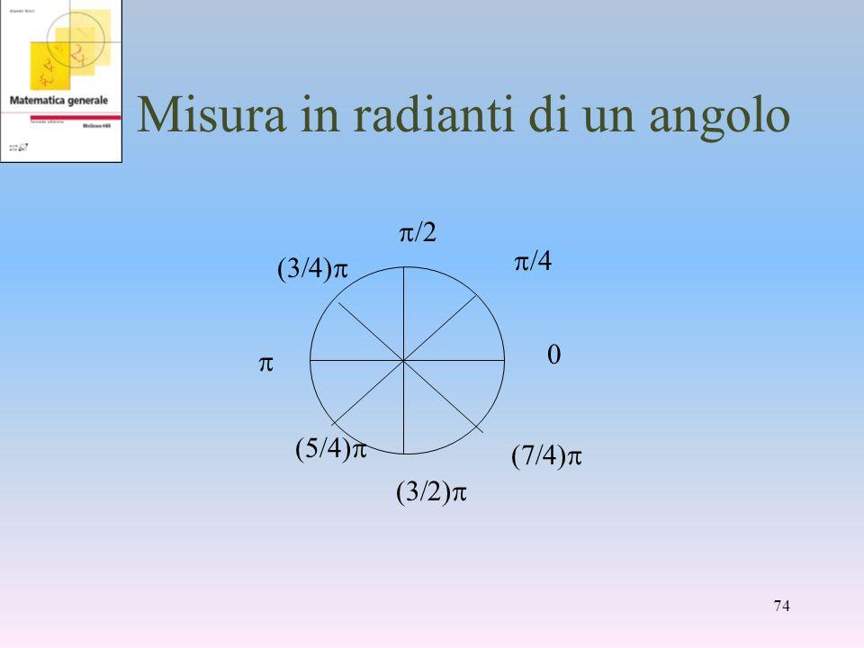 Misura in radianti di un angolo 0 /4 /4) /2 74