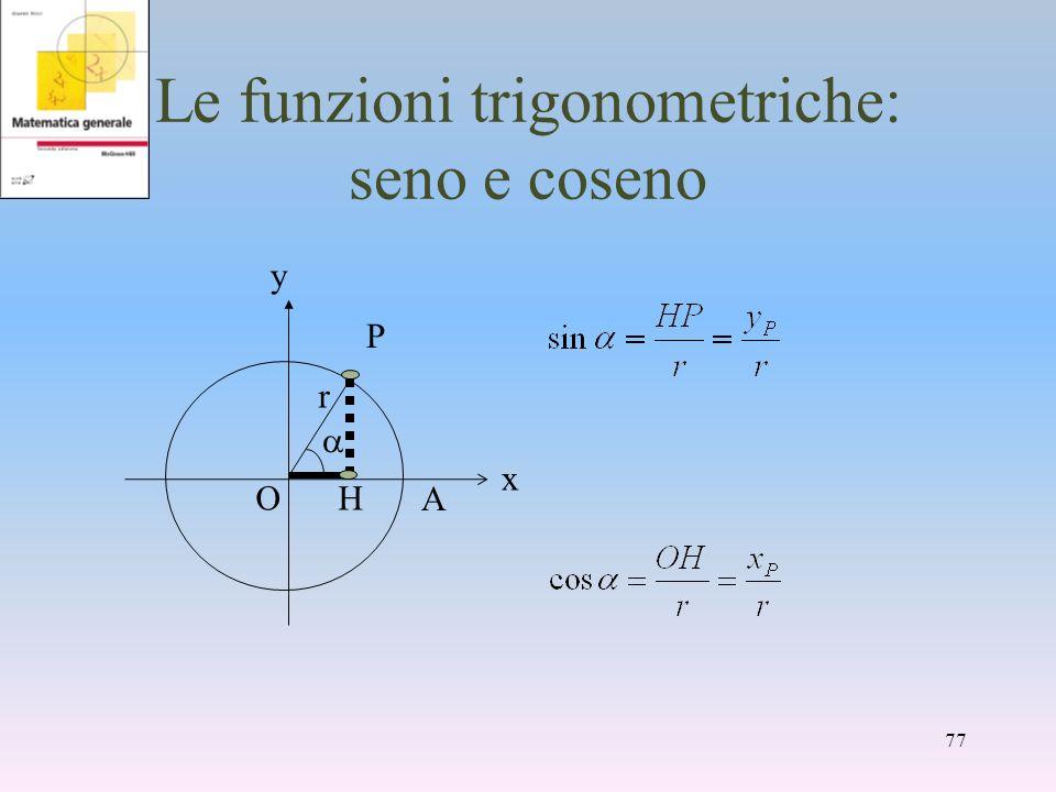 Le funzioni trigonometriche: seno e coseno A y P HO x r 77
