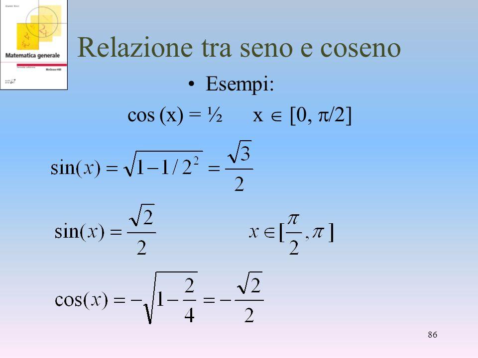 Relazione tra seno e coseno Esempi: cos (x) = ½ x [0, /2] 86