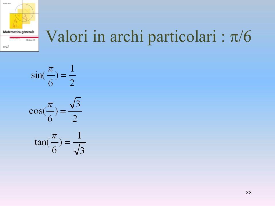 Valori in archi particolari : /6 88