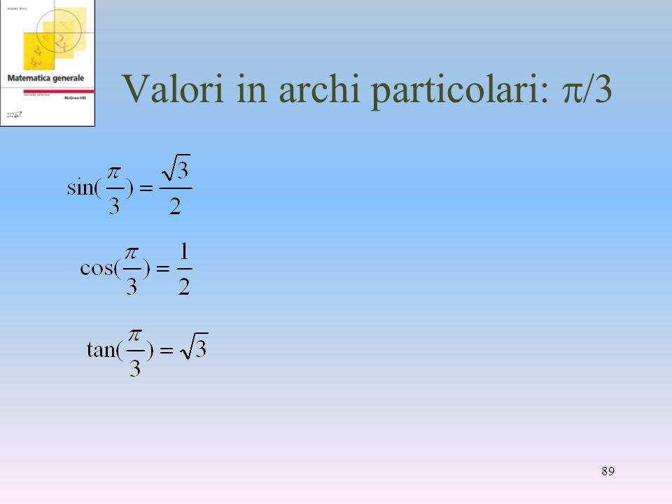 Valori in archi particolari: /3 89