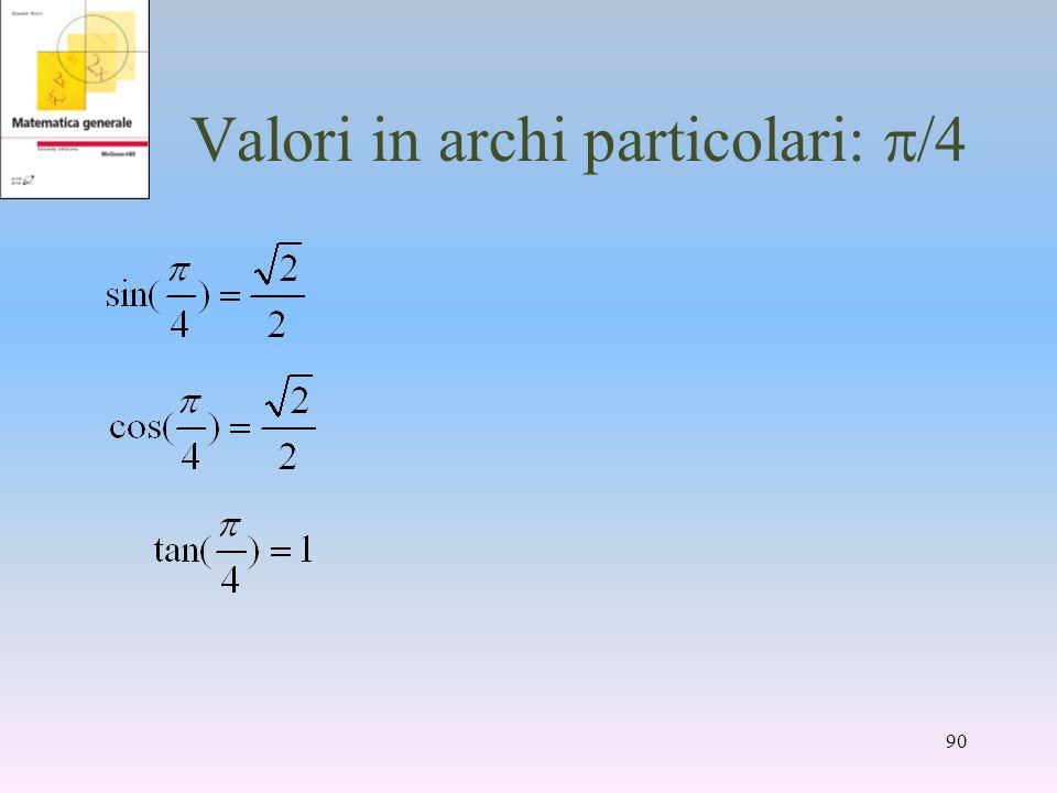 Valori in archi particolari: /4 90