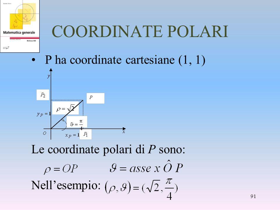 COORDINATE POLARI P ha coordinate cartesiane (1, 1) Le coordinate polari di P sono: Nellesempio: 91