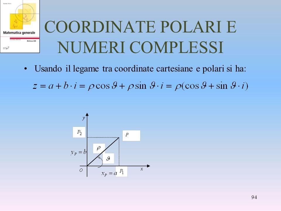COORDINATE POLARI E NUMERI COMPLESSI Usando il legame tra coordinate cartesiane e polari si ha: 94