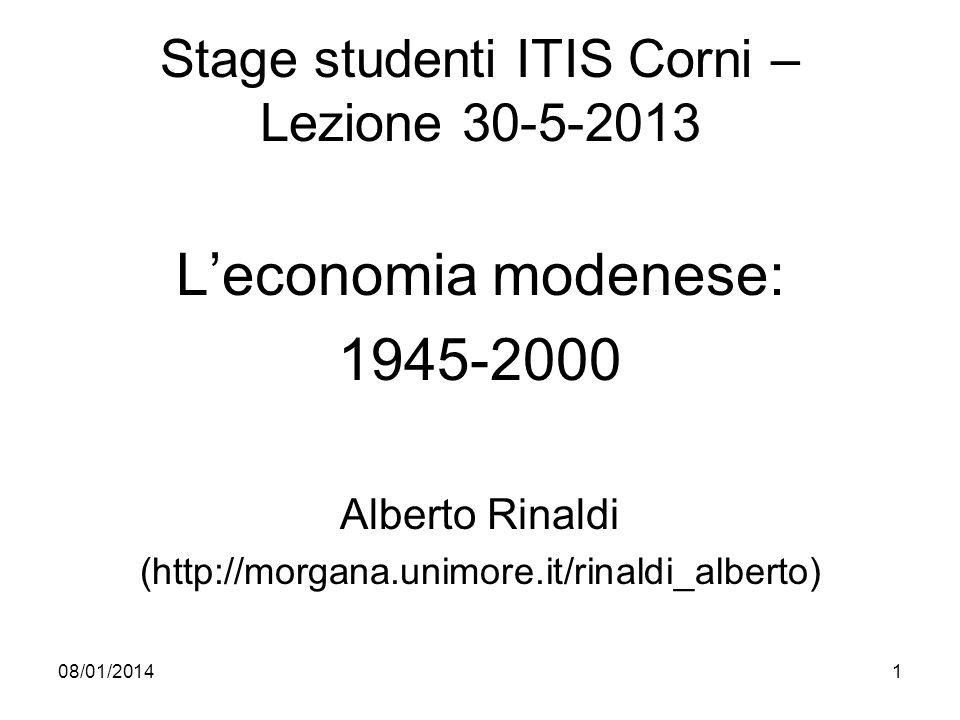 08/01/20141 Stage studenti ITIS Corni – Lezione 30-5-2013 Leconomia modenese: 1945-2000 Alberto Rinaldi (http://morgana.unimore.it/rinaldi_alberto)