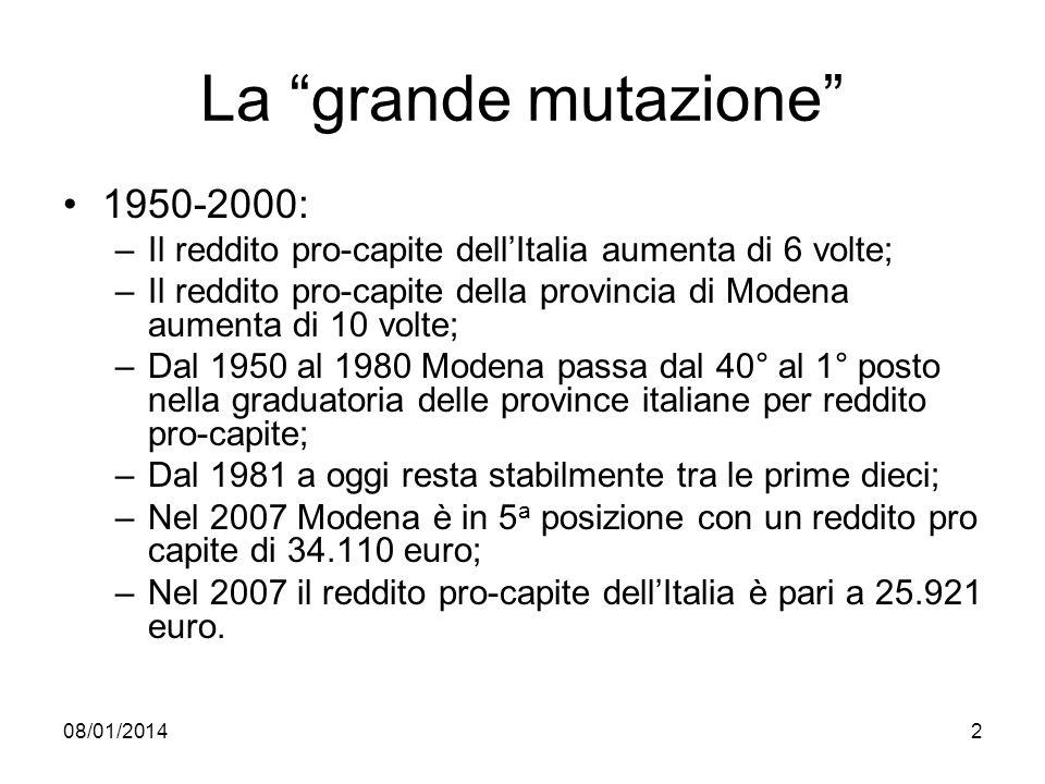 08/01/20142 La grande mutazione 1950-2000: –Il reddito pro-capite dellItalia aumenta di 6 volte; –Il reddito pro-capite della provincia di Modena aume
