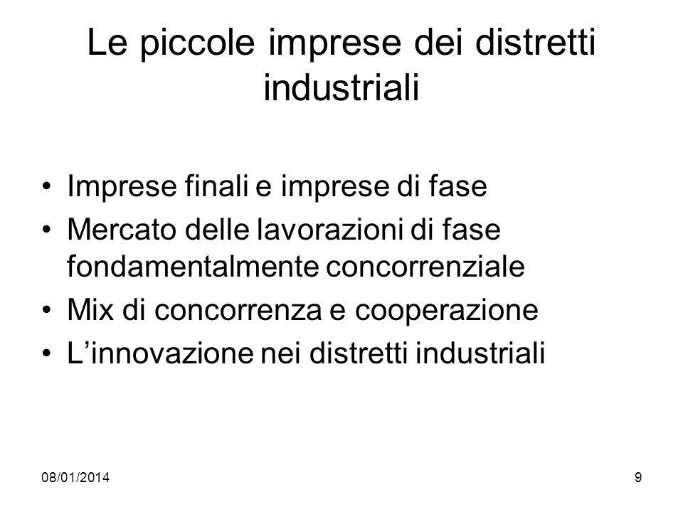 08/01/20149 Le piccole imprese dei distretti industriali Imprese finali e imprese di fase Mercato delle lavorazioni di fase fondamentalmente concorren