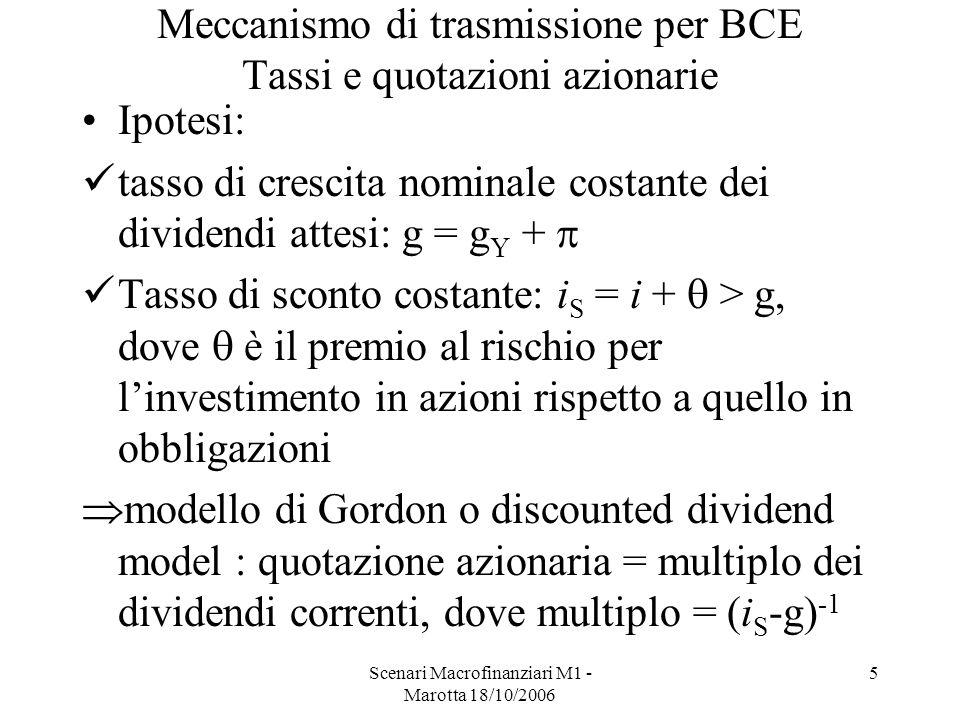 Scenari Macrofinanziari M1 - Marotta 18/10/2006 5 Meccanismo di trasmissione per BCE Tassi e quotazioni azionarie Ipotesi: tasso di crescita nominale costante dei dividendi attesi: g = g Y + Tasso di sconto costante: i S = i + > g, dove è il premio al rischio per linvestimento in azioni rispetto a quello in obbligazioni modello di Gordon o discounted dividend model : quotazione azionaria = multiplo dei dividendi correnti, dove multiplo = (i S -g) -1