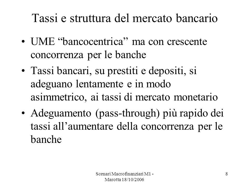 Scenari Macrofinanziari M1 - Marotta 18/10/2006 8 Tassi e struttura del mercato bancario UME bancocentrica ma con crescente concorrenza per le banche Tassi bancari, su prestiti e depositi, si adeguano lentamente e in modo asimmetrico, ai tassi di mercato monetario Adeguamento (pass-through) più rapido dei tassi allaumentare della concorrenza per le banche