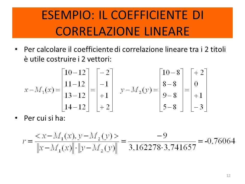 12 ESEMPIO: IL COEFFICIENTE DI CORRELAZIONE LINEARE Per calcolare il coefficiente di correlazione lineare tra i 2 titoli è utile costruire i 2 vettori