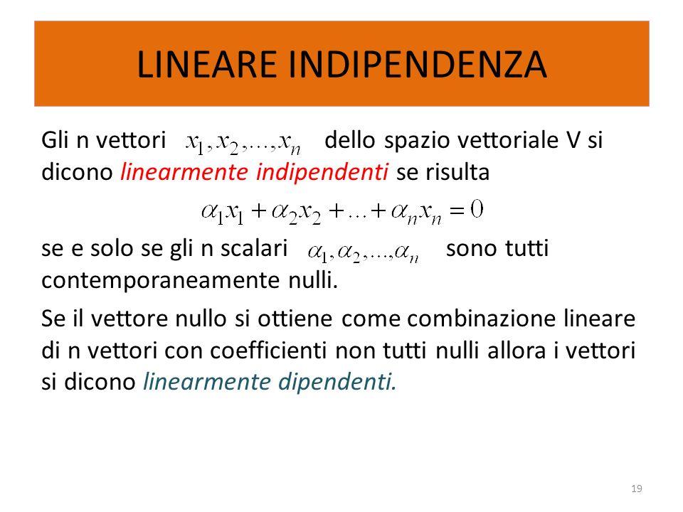 LINEARE INDIPENDENZA Gli n vettori dello spazio vettoriale V si dicono linearmente indipendenti se risulta se e solo se gli n scalari sono tutti conte