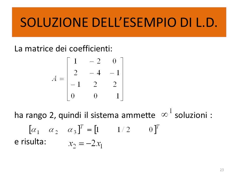 SOLUZIONE DELLESEMPIO DI L.D. La matrice dei coefficienti: ha rango 2, quindi il sistema ammette soluzioni : e risulta: 23