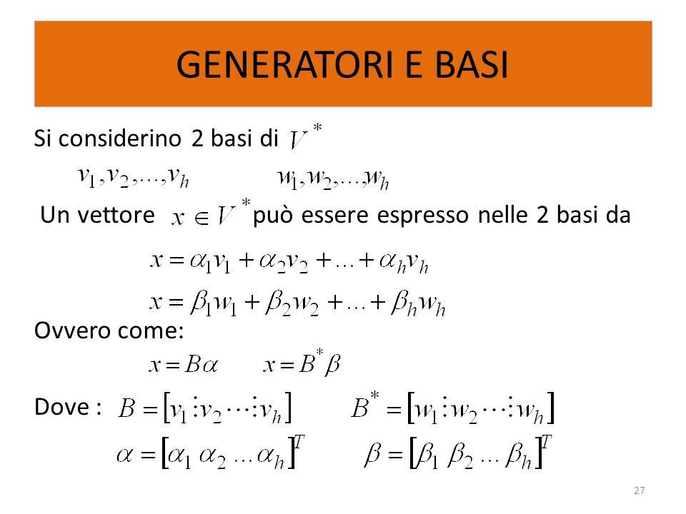GENERATORI E BASI Si considerino 2 basi di Un vettore può essere espresso nelle 2 basi da Ovvero come: Dove : 27