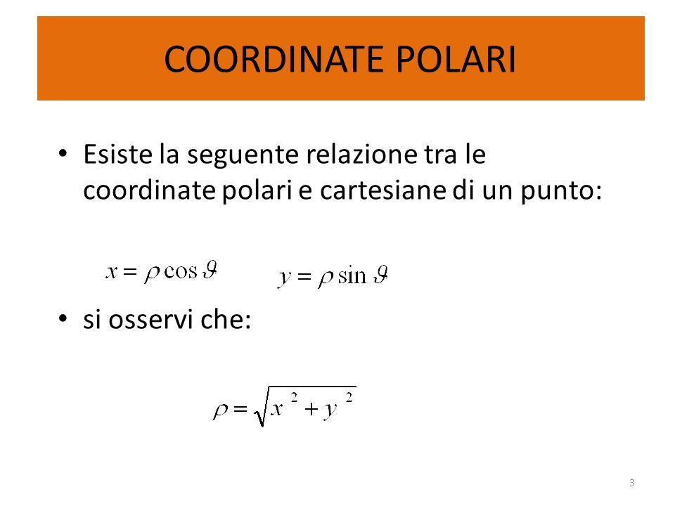 COORDINATE POLARI Esiste la seguente relazione tra le coordinate polari e cartesiane di un punto: si osservi che: 3