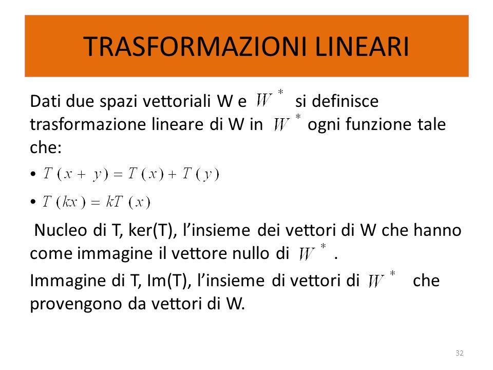 TRASFORMAZIONI LINEARI Dati due spazi vettoriali W e si definisce trasformazione lineare di W in ogni funzione tale che: Nucleo di T, ker(T), linsieme