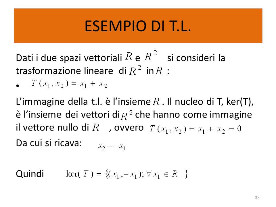 ESEMPIO DI T.L. Dati i due spazi vettoriali e si consideri la trasformazione lineare di in : Limmagine della t.l. è linsieme. Il nucleo di T, ker(T),