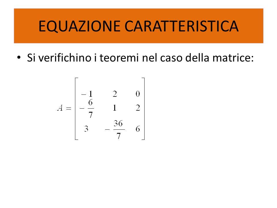 Si verifichino i teoremi nel caso della matrice: EQUAZIONE CARATTERISTICA