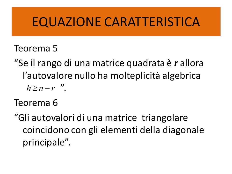 Teorema 5 Se il rango di una matrice quadrata è r allora lautovalore nullo ha molteplicità algebrica. Teorema 6 Gli autovalori di una matrice triangol