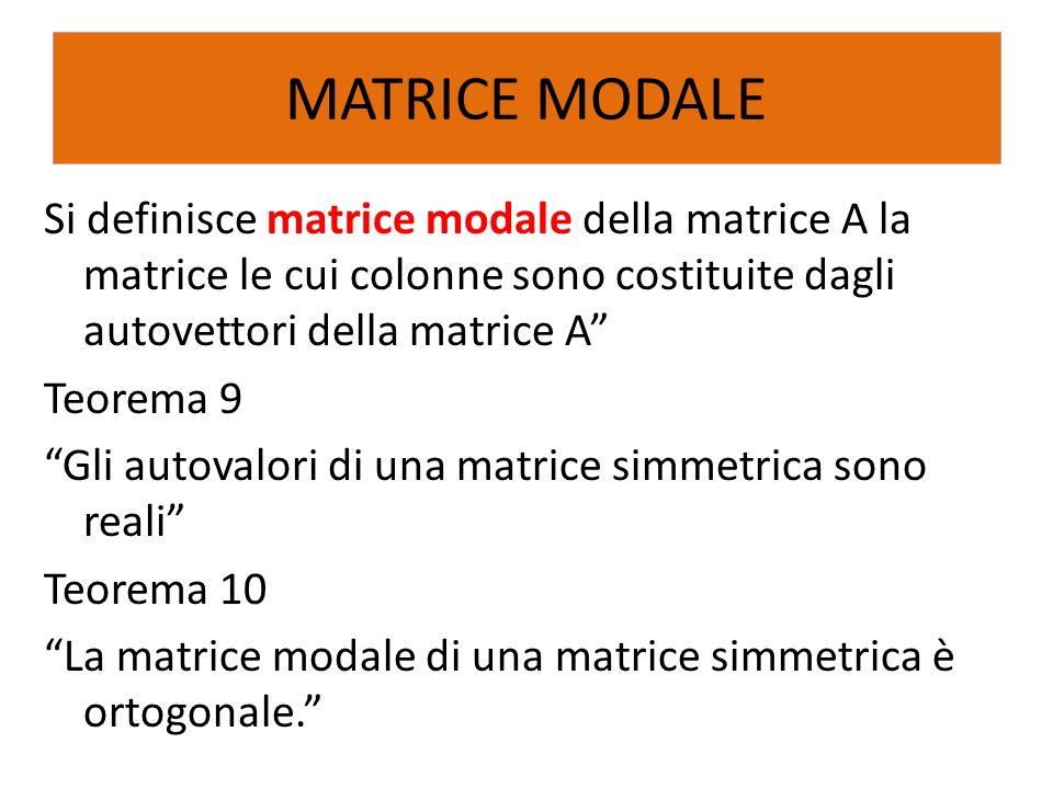 Si definisce matrice modale della matrice A la matrice le cui colonne sono costituite dagli autovettori della matrice A Teorema 9 Gli autovalori di un