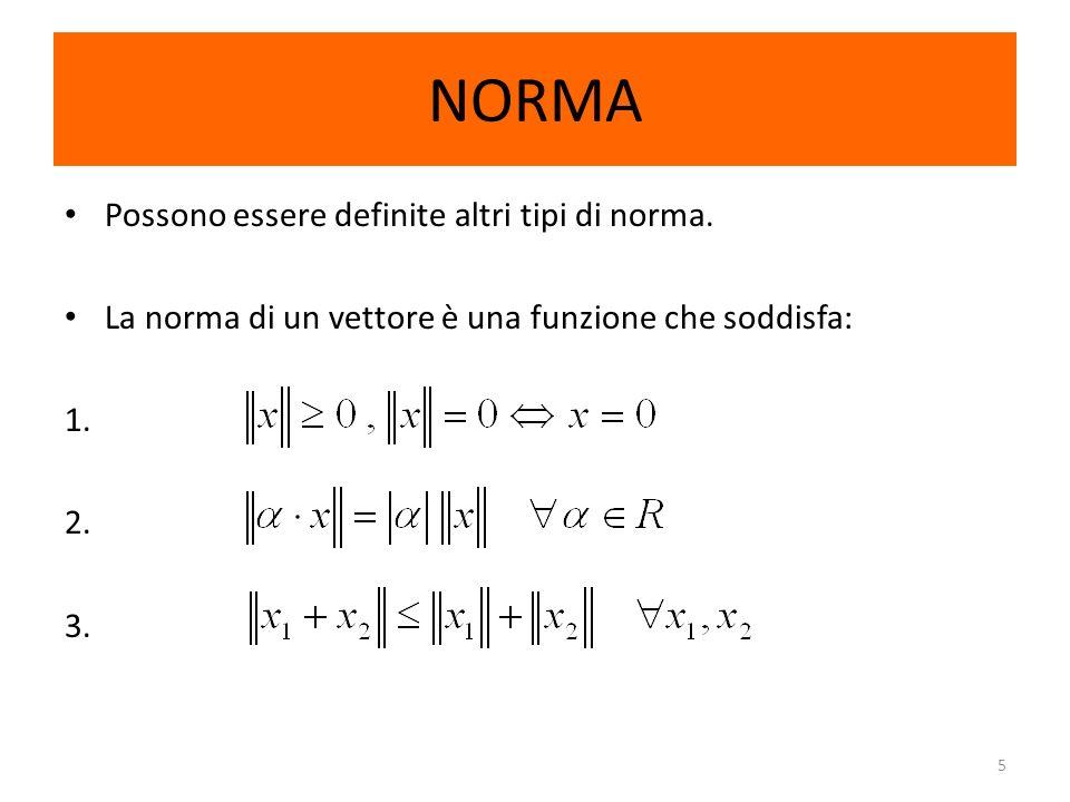 5 NORMA Possono essere definite altri tipi di norma. La norma di un vettore è una funzione che soddisfa: 1. 2. 3.