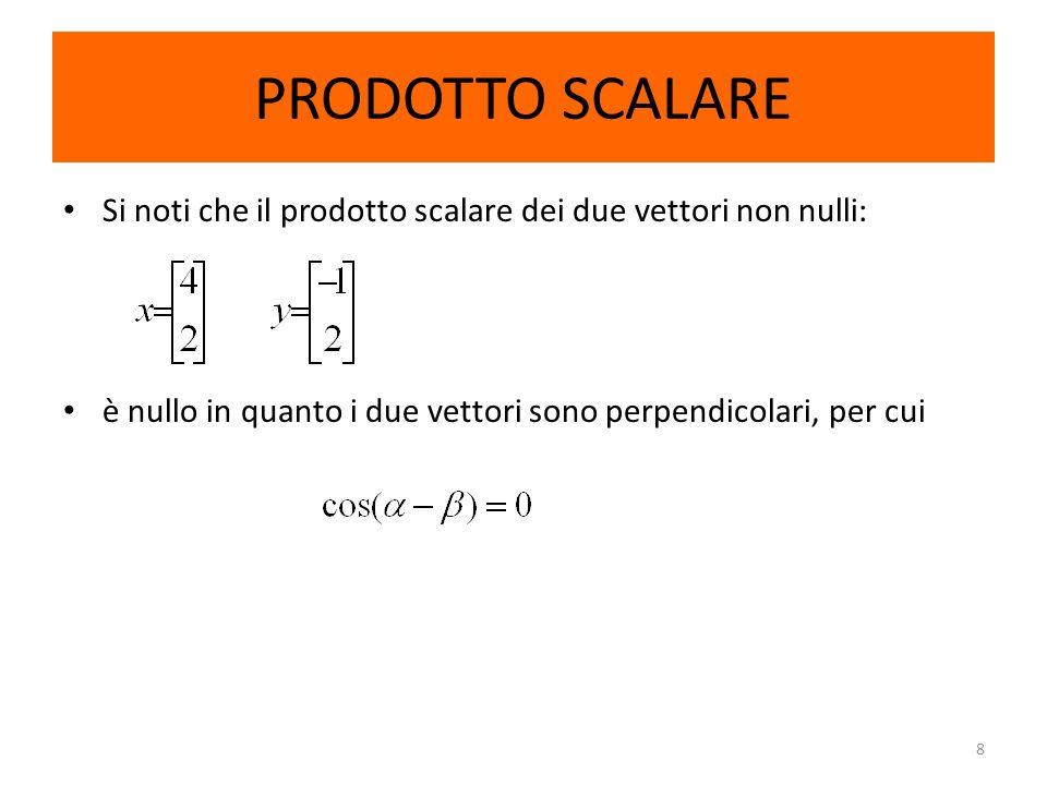 8 PRODOTTO SCALARE Si noti che il prodotto scalare dei due vettori non nulli: è nullo in quanto i due vettori sono perpendicolari, per cui