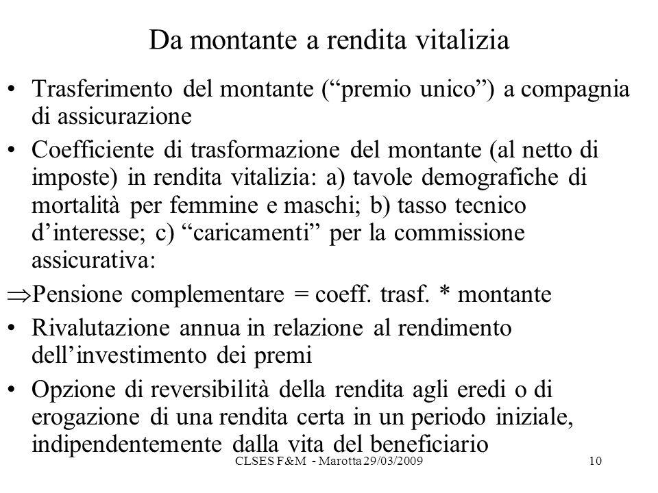 CLSES F&M - Marotta 29/03/200910 Da montante a rendita vitalizia Trasferimento del montante (premio unico) a compagnia di assicurazione Coefficiente di trasformazione del montante (al netto di imposte) in rendita vitalizia: a) tavole demografiche di mortalità per femmine e maschi; b) tasso tecnico dinteresse; c) caricamenti per la commissione assicurativa: Pensione complementare = coeff.
