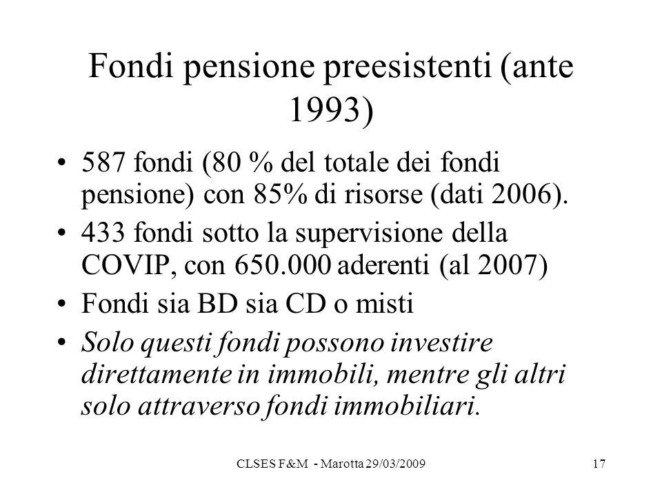 CLSES F&M - Marotta 29/03/200917 Fondi pensione preesistenti (ante 1993) 587 fondi (80 % del totale dei fondi pensione) con 85% di risorse (dati 2006).