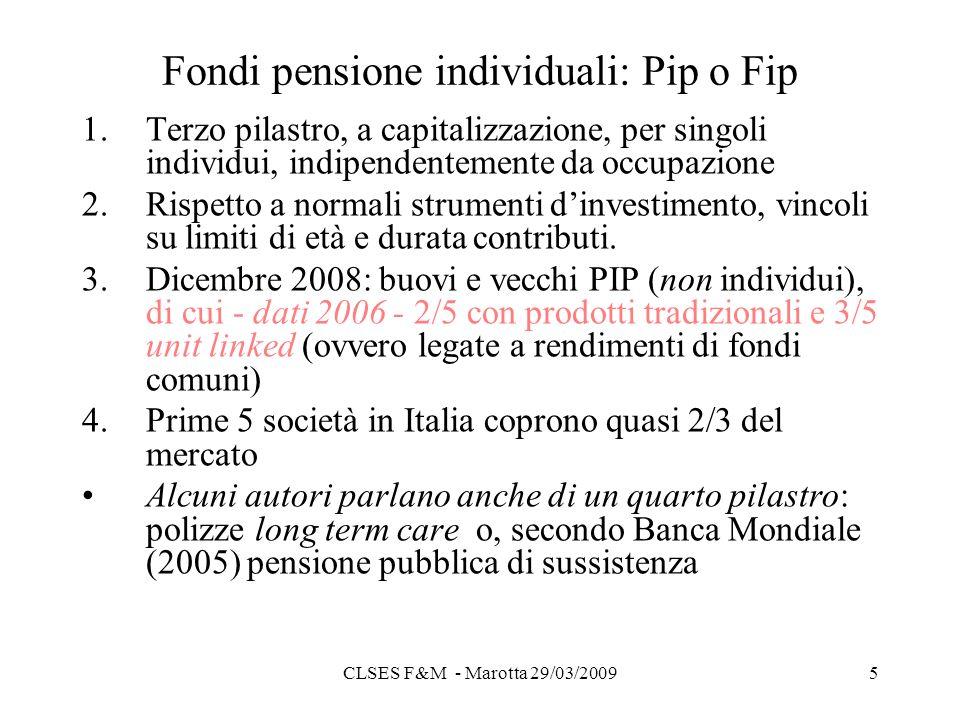 CLSES F&M - Marotta 29/03/20095 Fondi pensione individuali: Pip o Fip 1.Terzo pilastro, a capitalizzazione, per singoli individui, indipendentemente da occupazione 2.Rispetto a normali strumenti dinvestimento, vincoli su limiti di età e durata contributi.