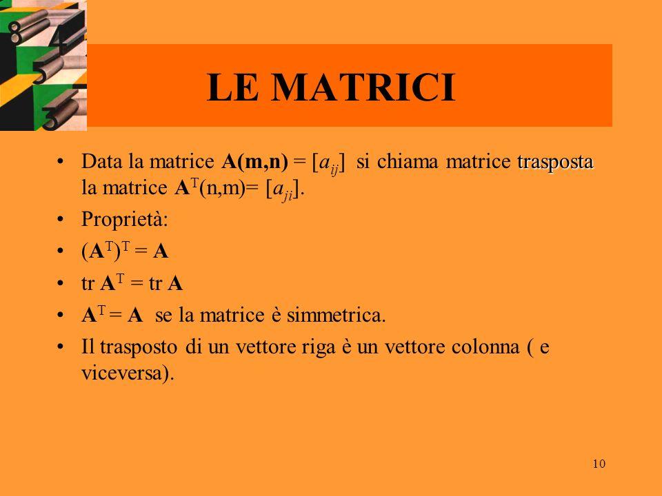 10 LE MATRICI traspostaData la matrice A(m,n) = [a ij ] si chiama matrice trasposta la matrice A T (n,m)= [a ji ]. Proprietà: (A T ) T = A tr A T = tr