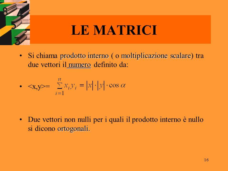 16 LE MATRICI prodotto internomoltiplicazione scalare numeroSi chiama prodotto interno ( o moltiplicazione scalare) tra due vettori il numero definito