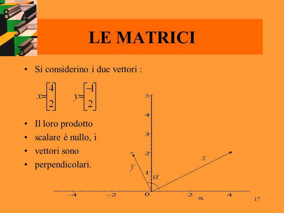 17 LE MATRICI Si considerino i due vettori : Il loro prodotto scalare è nullo, i vettori sono perpendicolari.