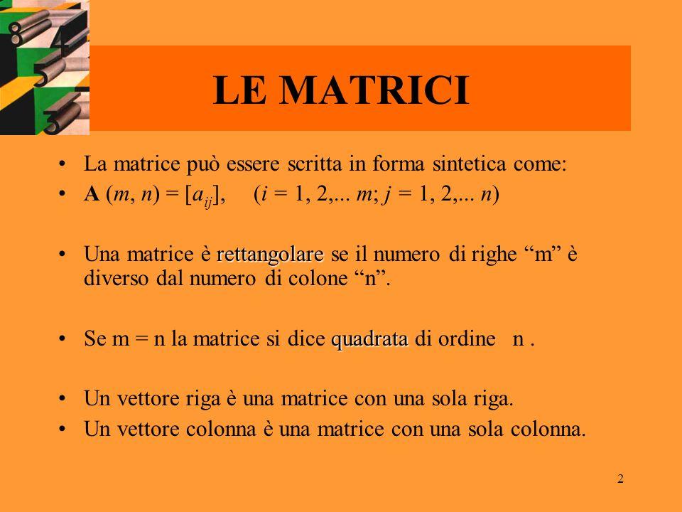 2 La matrice può essere scritta in forma sintetica come: A (m, n) = [a ij ], (i = 1, 2,... m; j = 1, 2,... n) rettangolareUna matrice è rettangolare s
