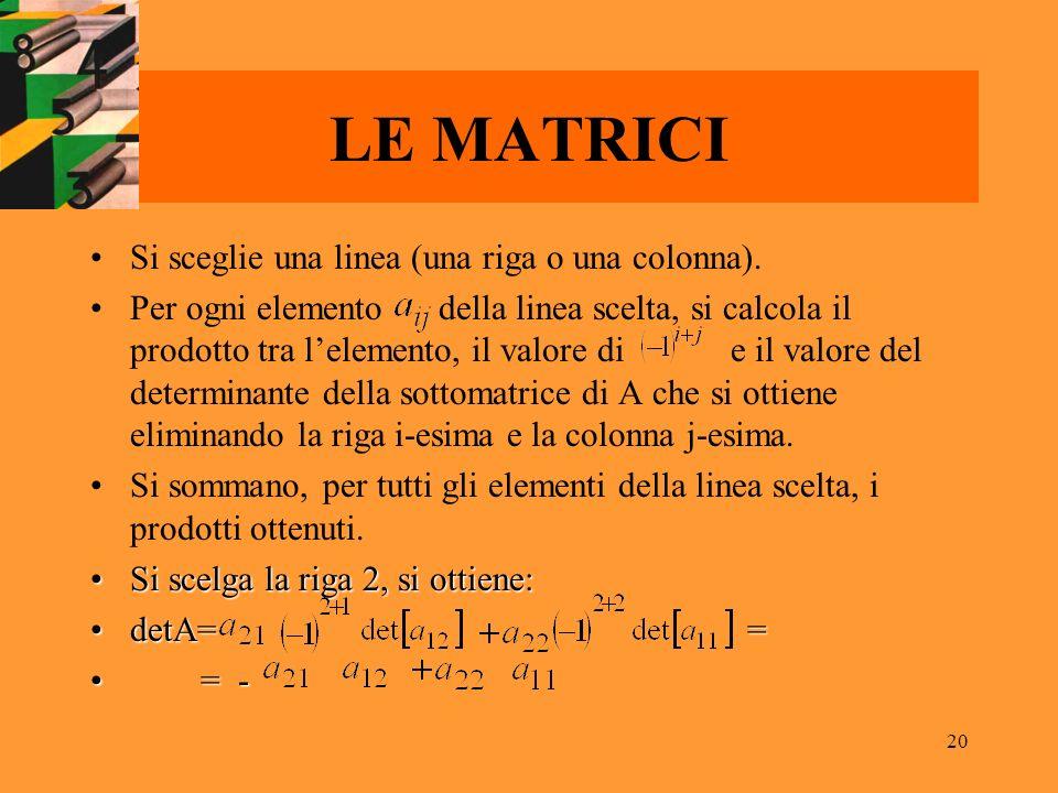 20 LE MATRICI Si sceglie una linea (una riga o una colonna). Per ogni elemento della linea scelta, si calcola il prodotto tra lelemento, il valore di