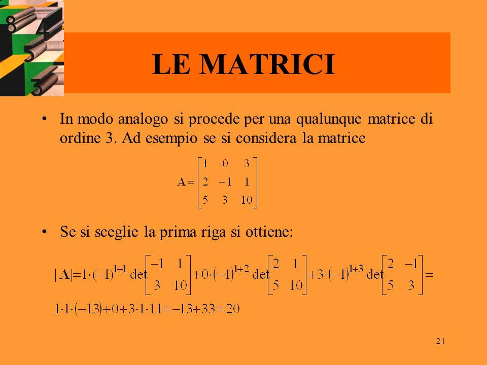 21 LE MATRICI In modo analogo si procede per una qualunque matrice di ordine 3. Ad esempio se si considera la matrice Se si sceglie la prima riga si o